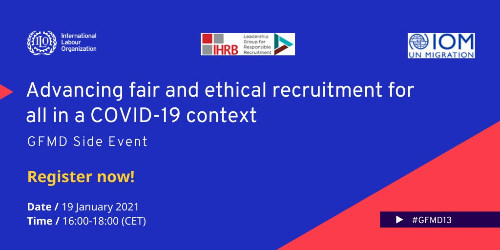 📢Join @ilo, @ihrb and @UNmigration for an interactive panel discussion #GFMD13 on fair and ethical recruitment in the context of COVID-19.   Register today at  before 17:00 CET!  For more information: