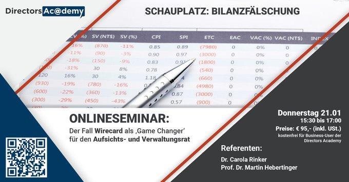 ONLINESEMINAR FÜR DEN AUFSICHTSRATSCHAUPLATZ: BILANZFÄLSCHUNGDer Fall Wirecard als 'Game Cha....