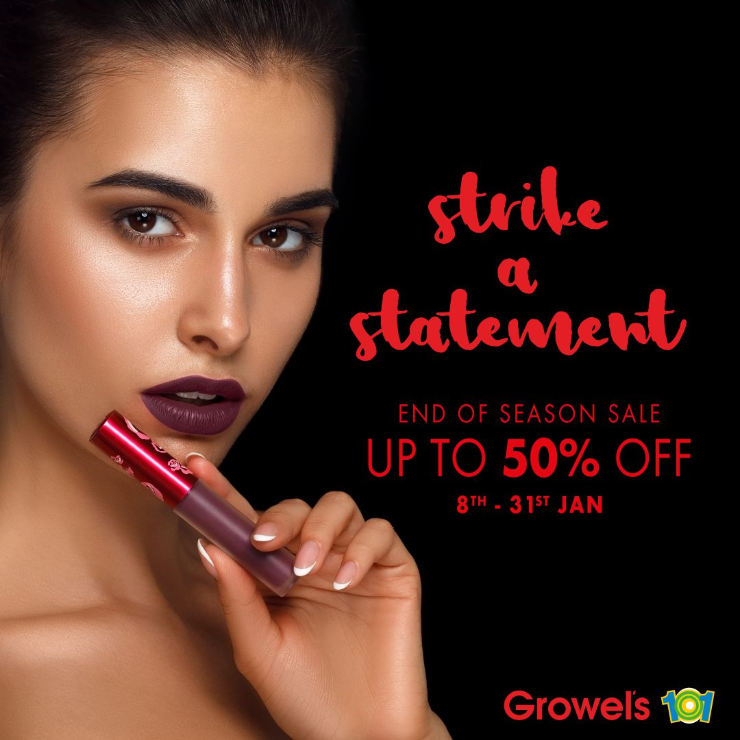 Shop the best and latest makeup products from Health & Glow & Revlon at Growel's 101.  Also stand a chance to win an iPhone 12 upon shopping for Rs 5,000!* *T&C apply. #Luckydraw offer valid till 31st January.  #Growels101 #EOSS #Upto50 #Makeup #Kandivali #Revlon #Makeupsale