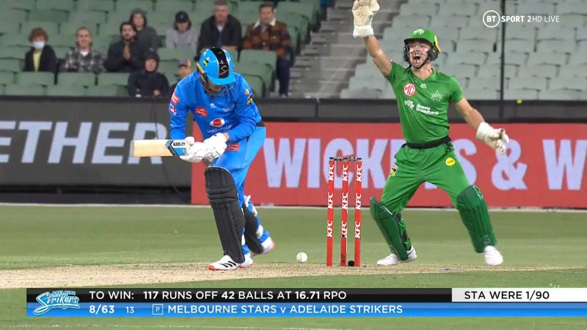 BIG BASH LEAGUE Melbourne Stars vs Adelaide Strikers  WICKET Danny Briggs (4 runs scored) lbw b Zampa  FALL OF WICKET ADE 63 - 8 13.0 overs  Image Credits: BT Sport https://t.co/XwlEvAjRr8