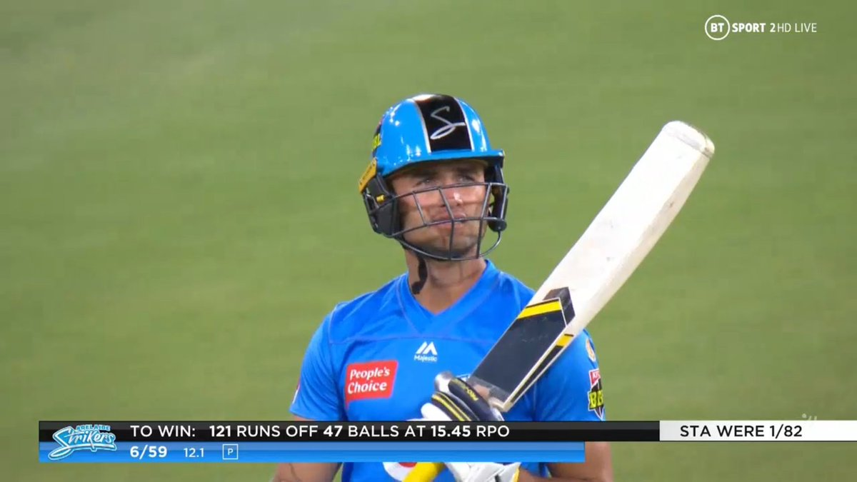 BIG BASH LEAGUE Melbourne Stars vs Adelaide Strikers  WICKET Jake Weatherald (10 runs scored) lbw b Zampa  FALL OF WICKET ADE 59 - 6 12.1 overs  Image Credits: BT Sport https://t.co/0OD8OvtZ3y