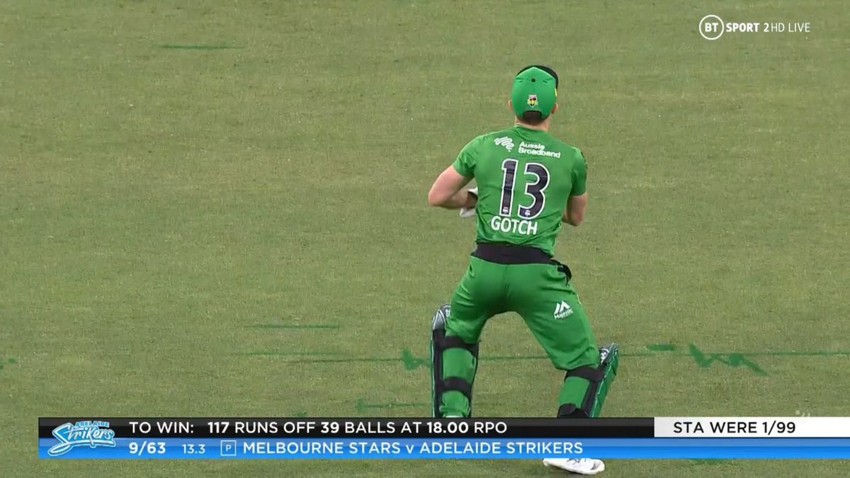 BIG BASH LEAGUE Melbourne Stars vs Adelaide Strikers  WICKET Cameron Valente (1 run scored) c Gotch b Stanlake  FALL OF WICKET ADE 63 - 9 13.3 overs  Image Credits: BT Sport https://t.co/EuRwL0zykB