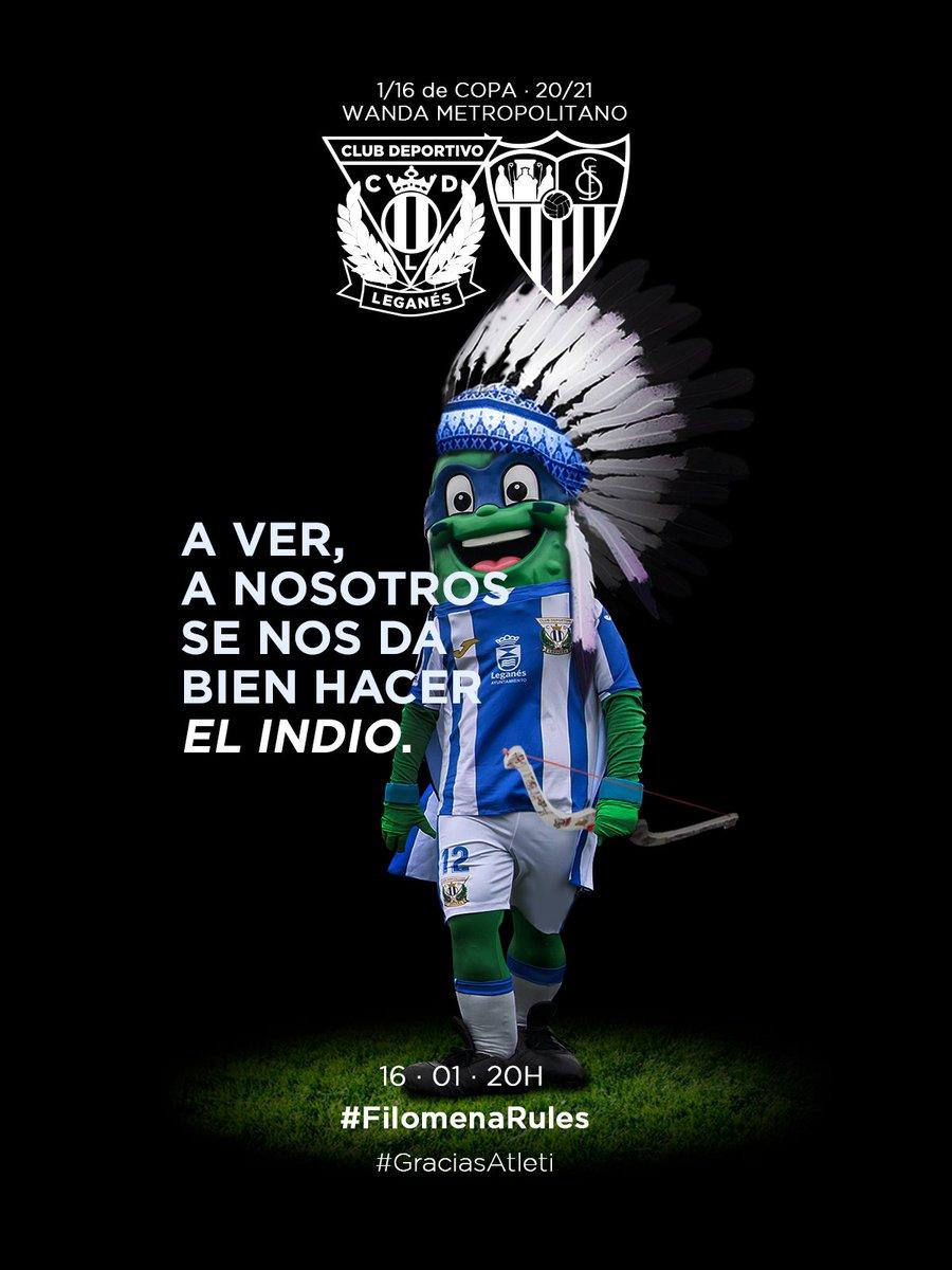 🖼 CARTEL ON-LINE I Al mal tiempo, buena cara 😉  Disfrutemos del fútbol y a por la victoria 💪   #FilomenaRules ❄️  #LeganesSevillaFC 🏆  #GraciasAtleti  Todos nuestros carteles aquí👇
