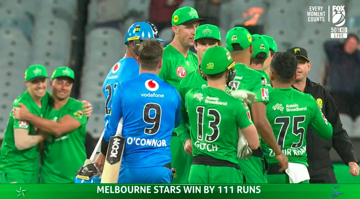 A thumping win from the Melbourne Stars!!   Adam Zampa finishes with five wickets.   📝 REPORT: https://t.co/MImwyYx2w1 📱 STATS: https://t.co/OFoYsunZI6 https://t.co/rFkcYJlSJD