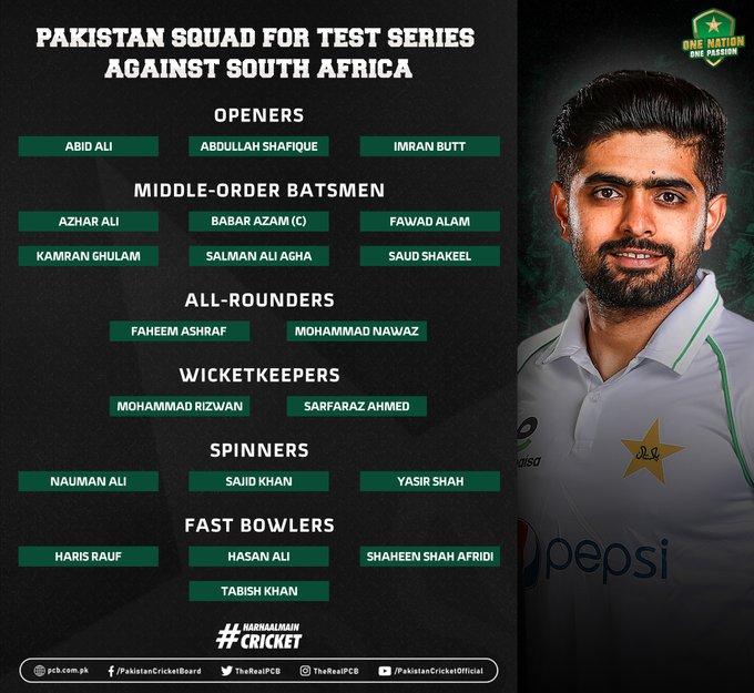 Pakistan Team Squad Announced vs South Africa Tour to Pakistan