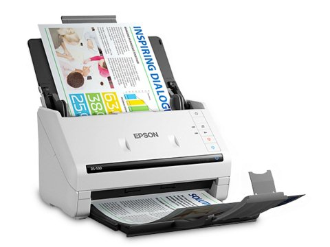 Increase reliability with #Epson #WorkForceDS530 scans double sided, at an impressive 35 pages per minute and 70 images per minute with a 50 sheet automatic document feeder, the powerful scanner offers a wide range of media handling options