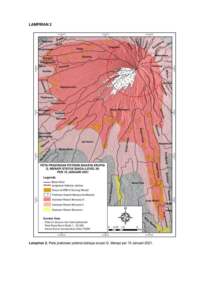 - Kubah lava baru yang selanjutnya disebut sebagai ubah lava 2021 berada di sektor Barat Daya G. Merapi di sekitar tebing Lava-1997. Pada tanggal 14 Januari 2021 volume kubah lava terukur sebesar 46.766 m3 dengan laju pertumbuhan sekitar 8.500 m3/hari.