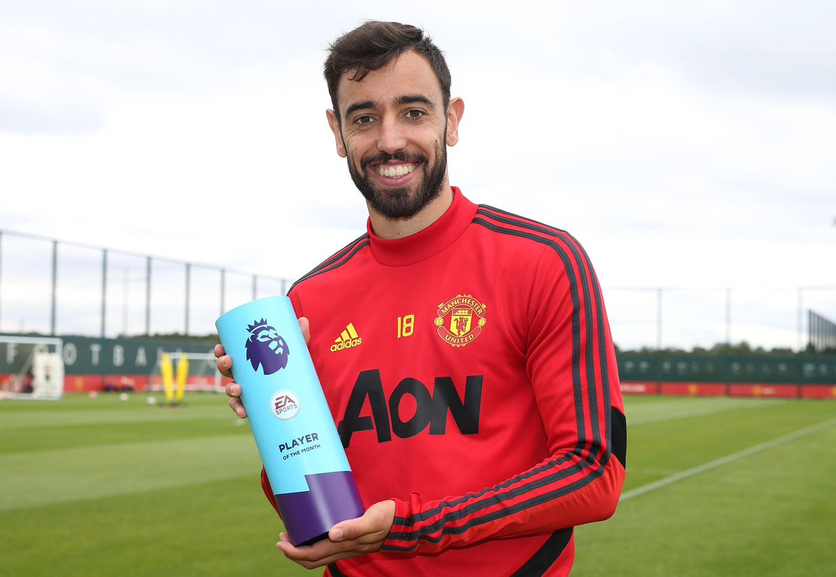 Man Utd midfielder Bruno Fernandes has been named Premier League Player of the Month for December.  #PLAwards #PL
