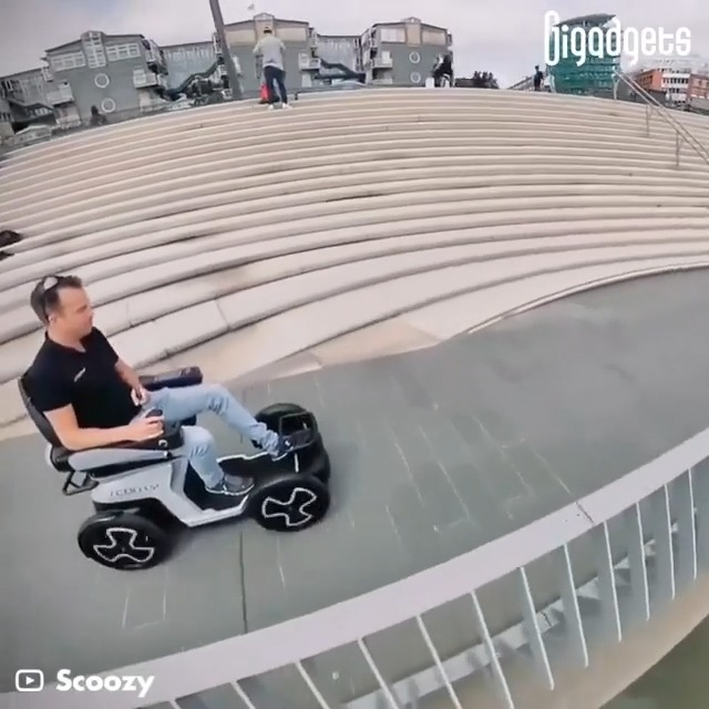 This is a four-wheel electric scooter for people with reduced mobility.  Introducing Scoozy electric scooter.  #gigadgets #scooter #electricscooter #disabled #wheelchairlife
