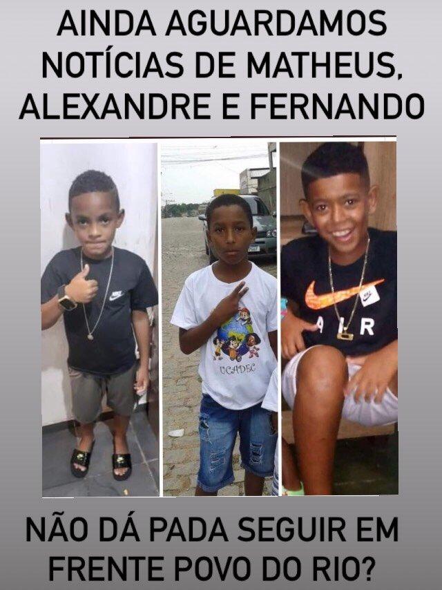 Onde estão as Notícias sobre Matheus, Alexandre e Fernando? O povo do Rio está de verdade preocupado? Precisamos cobrar... #VidasNegrasImportam #BlackLivesMatter