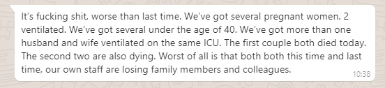 """Cases are dropping. Do not think that the NHS is now """"Ok"""".   The constant delayed govt decision making is killing people.   Thousands of families & frontline NHS staff are going through hell.   Below is a message sent to me by a London ICU doc. Read it, share it & stay home. 1/2"""