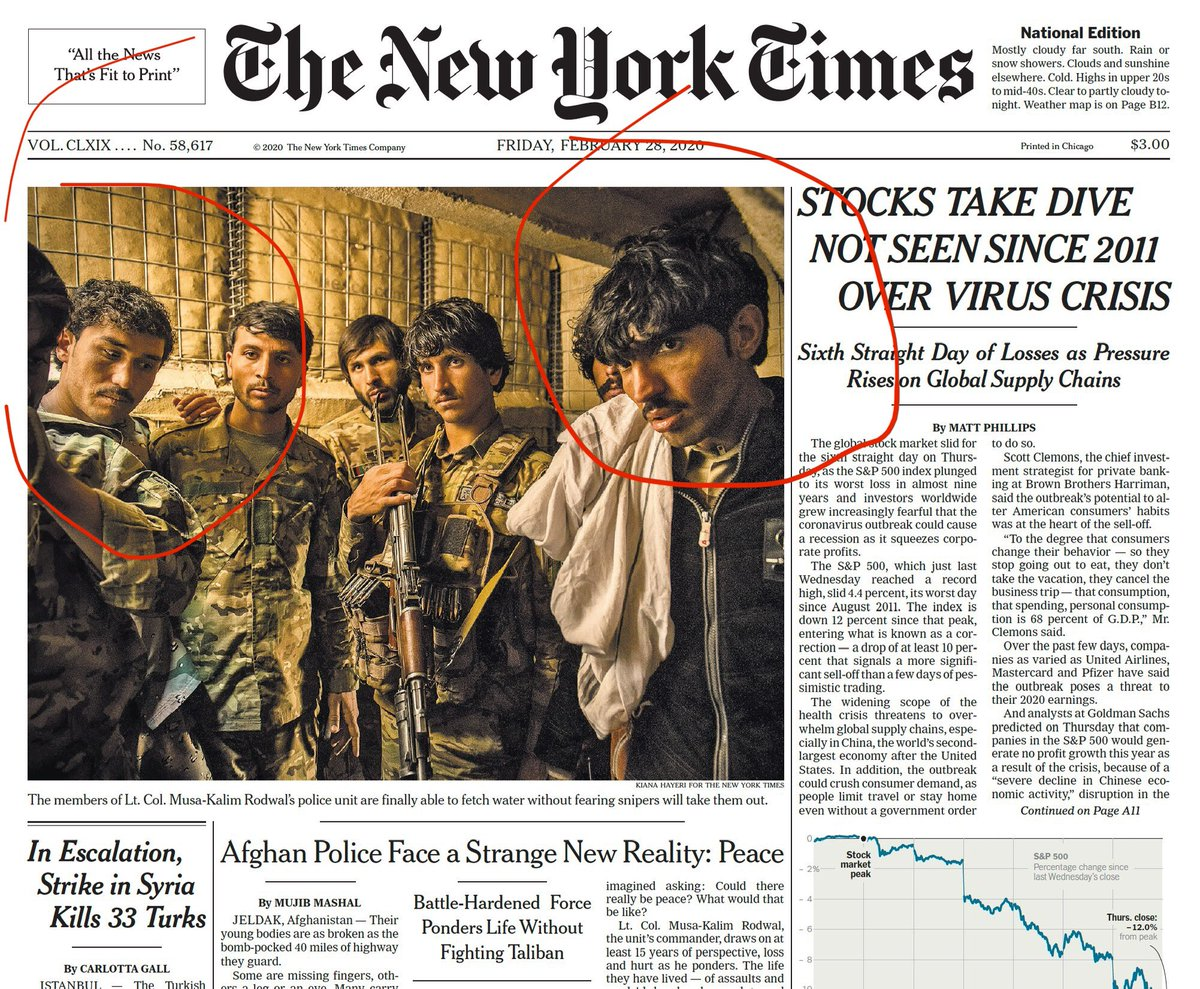 Two of these young men on the front page of the @nytimes in a story about imagining peace have been killed since @kianahayeri and I spent time with them about 11 months ago  during that brief ceasefire.  Zalmay's wasted life will haunt — he had lived with the gun since he was 12.