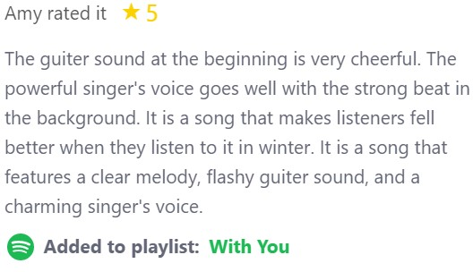 We always appreciate a good review! Thanks Amy, great you added our song to your playlist!  #SNOWMAN #NewMusic #NewMusicFriday #MondayMotivation #ThrowbackThursday #ThrowbackThursdays #ThrowbackTuesday #FridayFeeling #MusicMonday #Spotify #SpotifyPlaylists