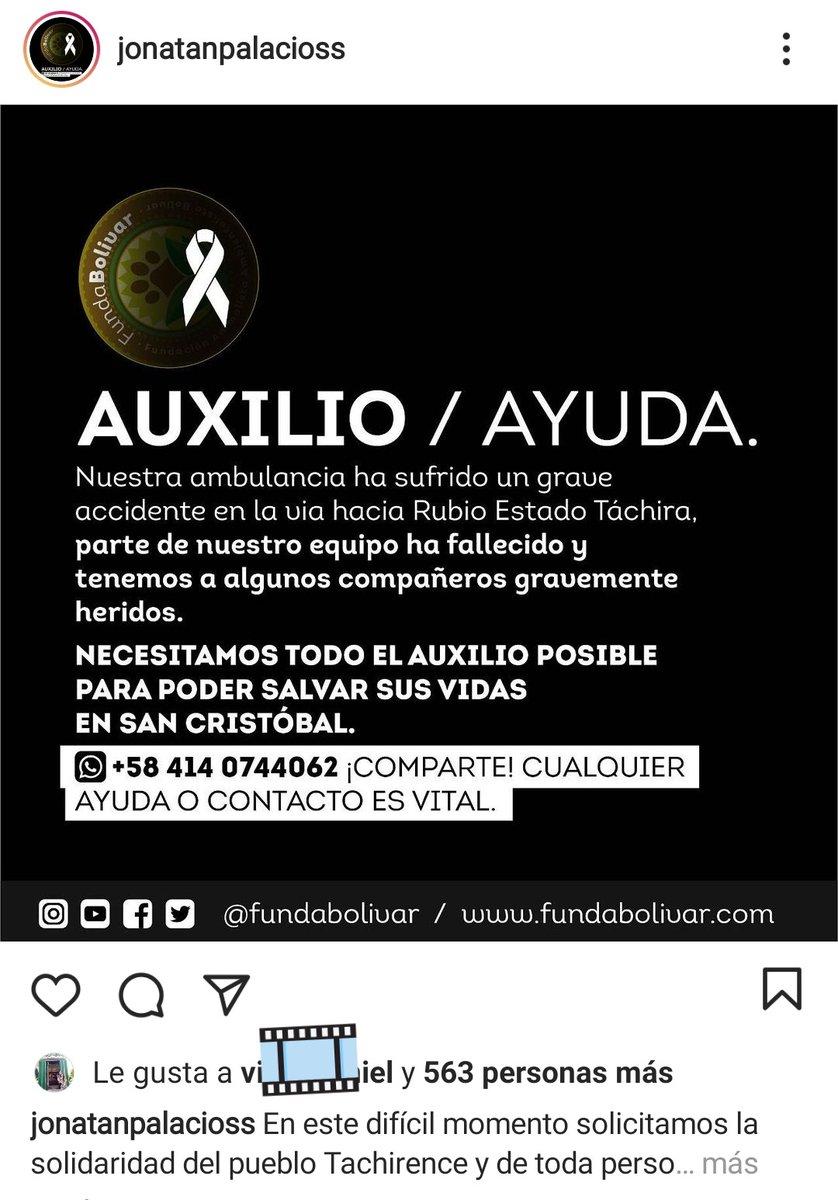 #Táchira Tres personas fallecieron. Eran integrantes de Fundabolívar. Venían en una ambulancia por la carretera de Rubio y según testimonio, dos gandolas que venían de frente los obligaron a salir de la carretera.