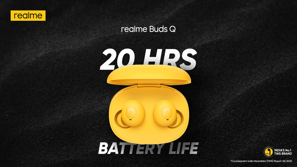Enjoy non-stop music with the #QuiteStylishTrueWireless, #realmeBudsQ. It offers up to 20 Hrs of Battery Life that allows easy all-day usage.   Available on  & @Flipkart. Buy now: