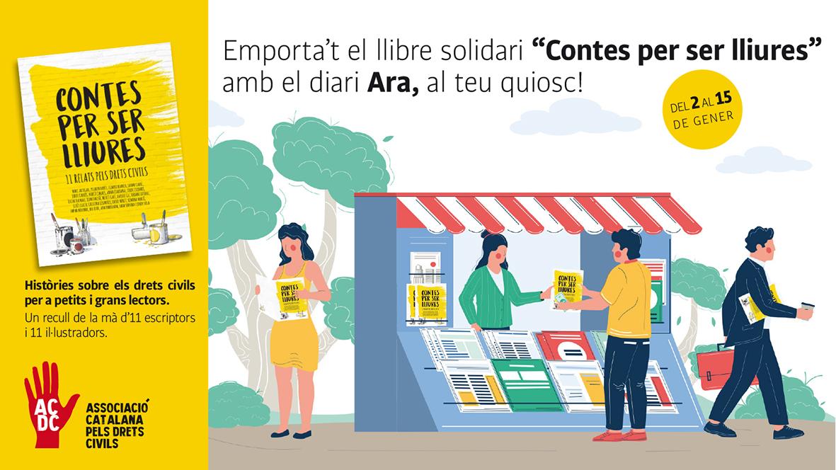 ‼️AVUI ÚLTIM DlA‼️ Al teu quiosc amb el @diariAra, pots comprar el llibre #ContesPerSerLliures, un recull d'històries sobre els drets civils de la mà d'11 escriptors i 11 il·lustradors. NO ET QUEDIS SENSE!  També online 👉