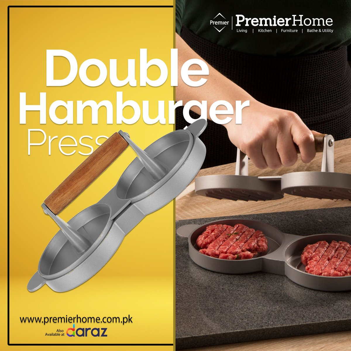 Now you can make #burgers at home with ease with this #double #hamburgerpress. Made of #nonstick #aluminum, #burgerpress is an ideal addition to your #cookware  #burgerpattypress #kitchenaccessories #online #shopping #shoppingonline #onlineshopping