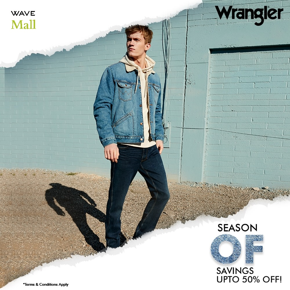Grab your favourite #Wrangler products at a sweet discount of upto 50% at the End of Season Sale. Explore now at @Wranglerdenims store Wave Mall Moradabad.  #WaveMalls #WaveMallMoradabad #Wrangler #Discount #Denims #Collection #Upgradeyourwardrobe #Sale #EOSS