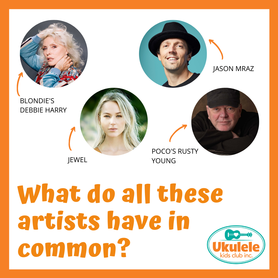 What do all these artists have in common? . Debbie Harry, Jason Mraz, Jewel, and Rusty Young are all generous and kind people who have autographed ukuleles that  could be yours! . Head over to the link in our bio to try to get the ukulele signed by your favorite artist! . . #dona