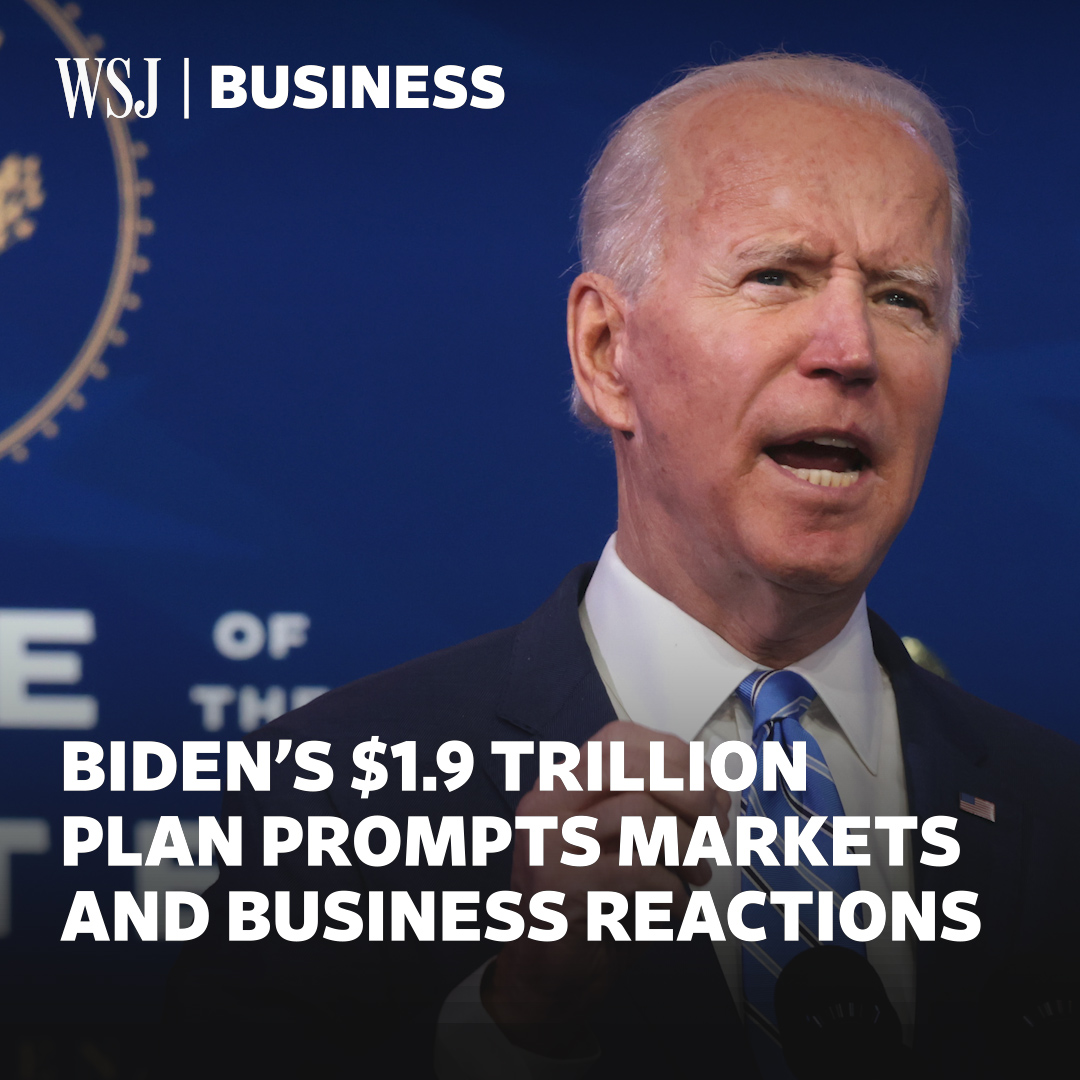 Stock futures edged lower on tax concerns, after Biden introduced a $1.9 trillion Covid plan aimed at supporting people and the economy through the pandemic #WSJWhatsNow