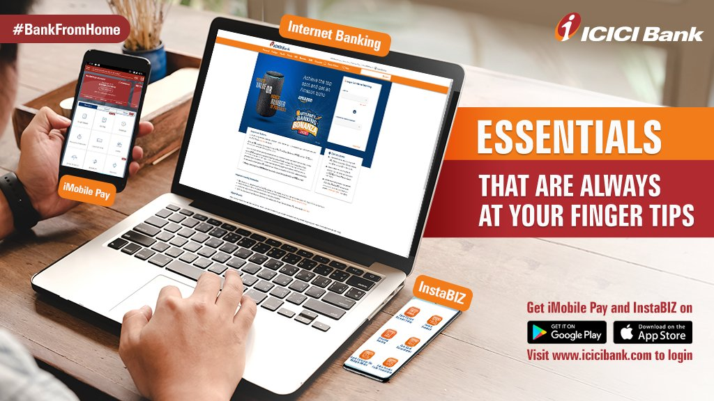 With #ICICIBank digital banking channels you can #BankFromHome effortlessly 24/7.   Download here:   ✅ iMobile Pay:  ✅ InstaBIZ:  ✅ Net banking:    and experience seamless banking.