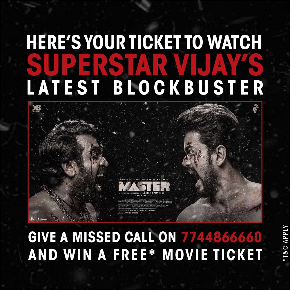 One missed call and the free ticket for Master is yours! Don't wait. Pick up your phone and start dialing now.  #ContestAlert #MasterAtPVR #PVRExperience #MasterVijay #MasterFilm #MasterContest