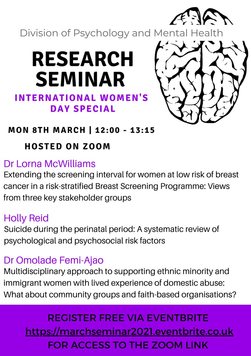 We are looking forward to our #InternationalWomensDay  seminar in March ♀️  📅 Mon 8th March 🕛 12-1.15pm  Presentations from: 🌟@LornaDeRosa  🌟@holliferreid 🌟@molarde  Sign up is free via   Everyone welcome, please RT 😊