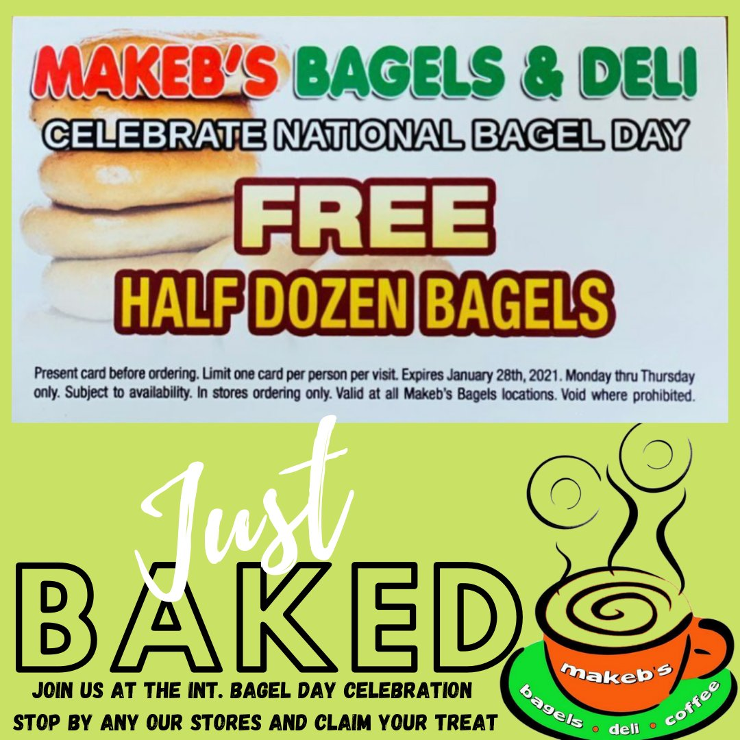 TODAY is the international bagel day celebration and the treat is on Us @makeb_s ENJOY! this promotion available till January 28th #MAKEBS #newyorkstyle #eatlocal #Smartbite #healthyfood #westpalmbeach #Palmbeach #supportlocal #BagelDay #cravings #breakfast #lunch #delivery #fit https://t.co/c49UqWCCPg