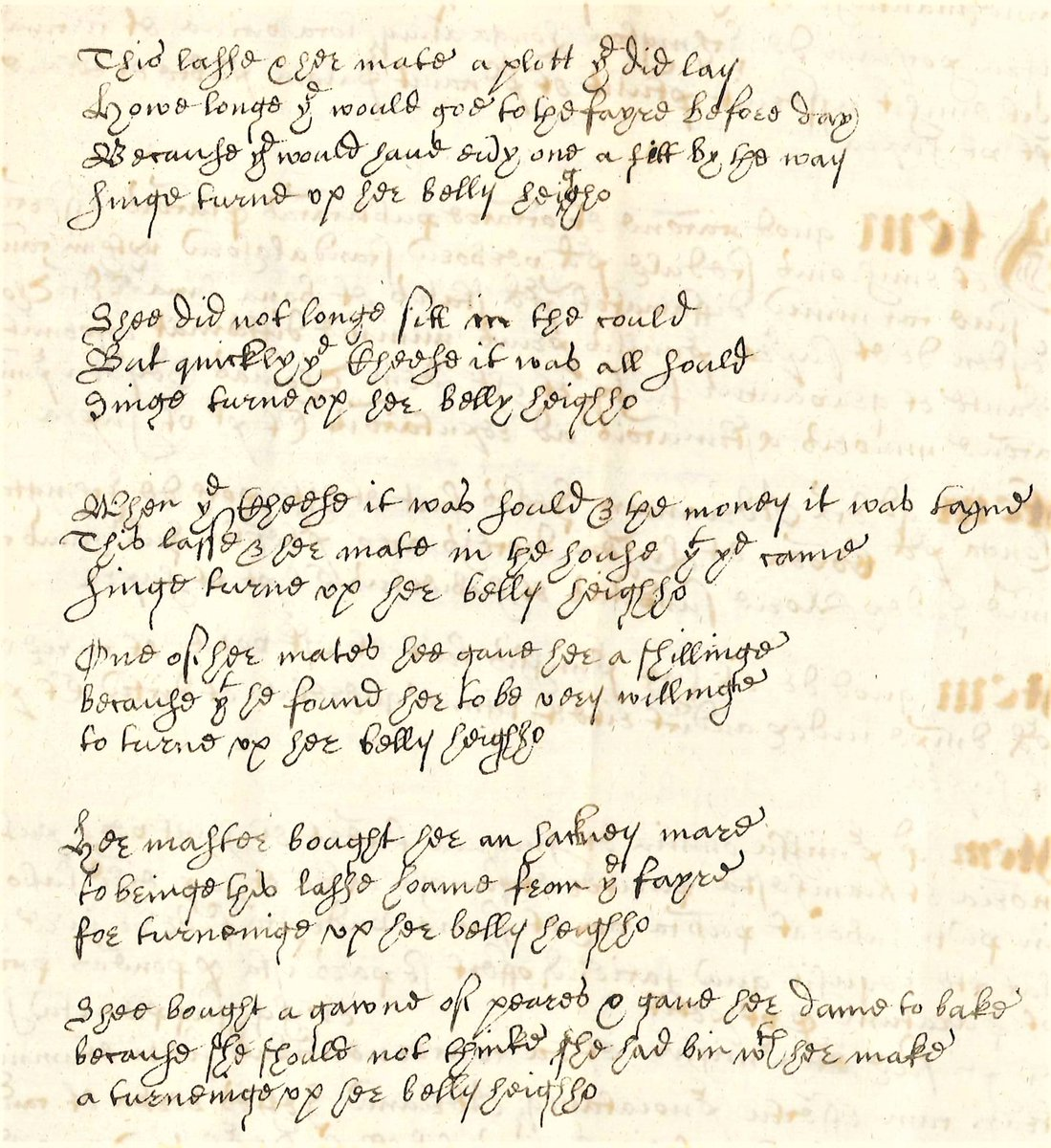 This lasse and her mate a plot they did lay. How long they would goe to the fayre before day Because they would have evy one a fitt by the way Singe turne up her belly heigh ho ... A libellous ballad from 1628 in @ArchandHeritage: lichfieldbawdycourts.wordpress.com/2021/01/15/hei…