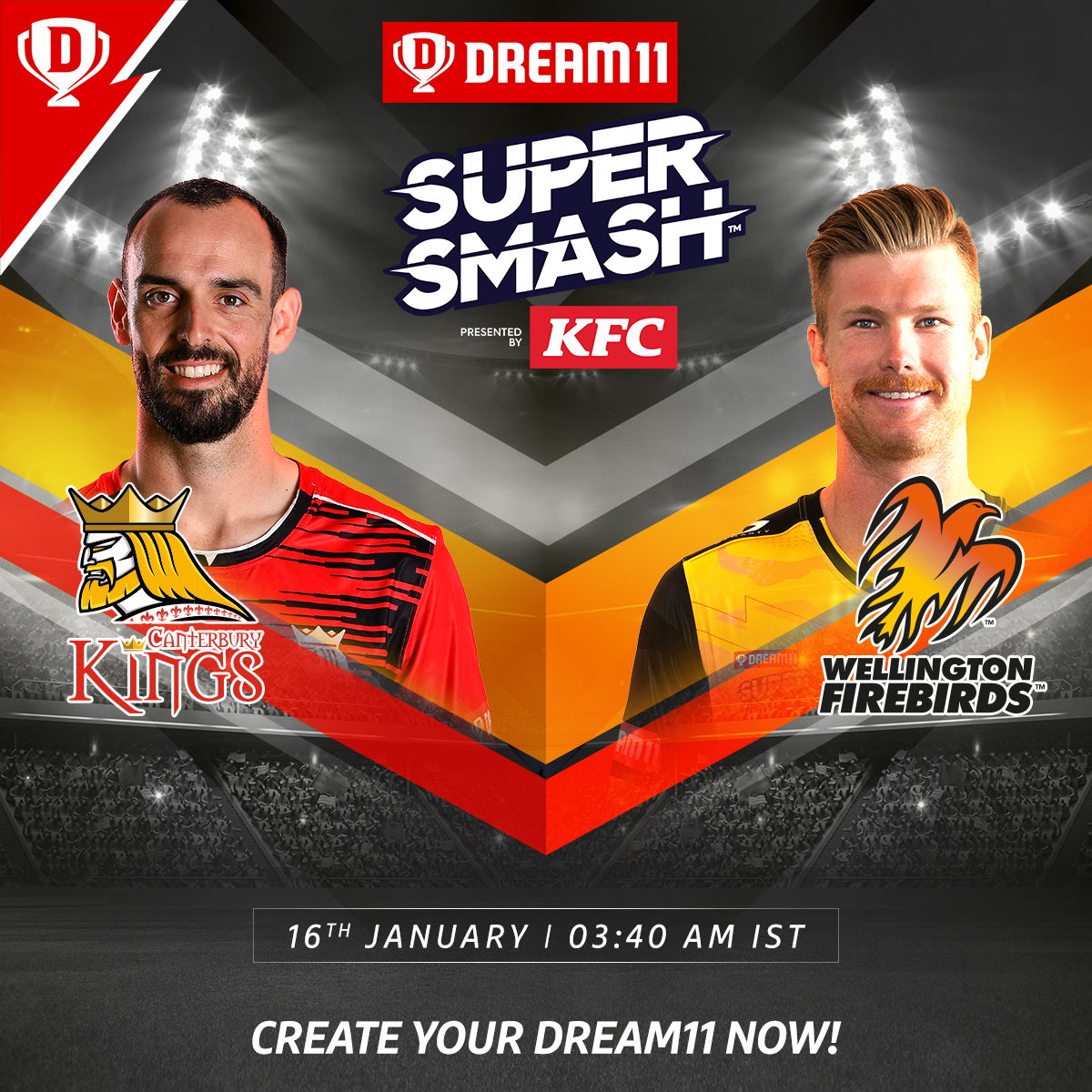 Expect a close encounter when #CanterburyKings take on #WellingtonFirebirds in the wee hours of tomorrow morning in @SuperSmashNZ  👀👌  Download the app and create your teams now. Visit: . #SuperSmashNZ