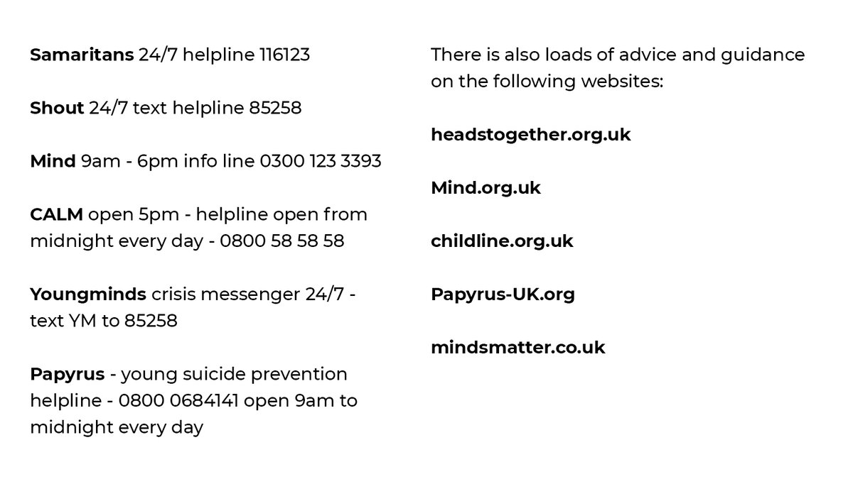 An overwhelming response to this. I'm working through them so have closed my DMs for now so I can reply to as many as I can properly.   Remember it's ok not to be ok and you're not alone. Speak to a friend, family member, someone you trust or your GP. Here are some numbers below:
