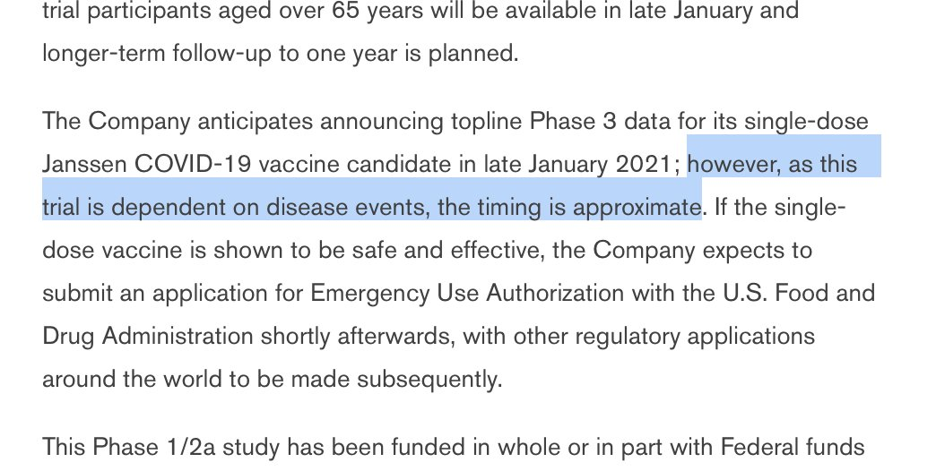 "[From a Johnson & Johnson release]   I think a little under-appreciated by the public that under the current trial paradigm, we're making fast advances in vaccines not ""despite"" the virus spreading rapidly but in part *because* the virus has spread so rapidly. https://t.co/GJOw0Aursi"