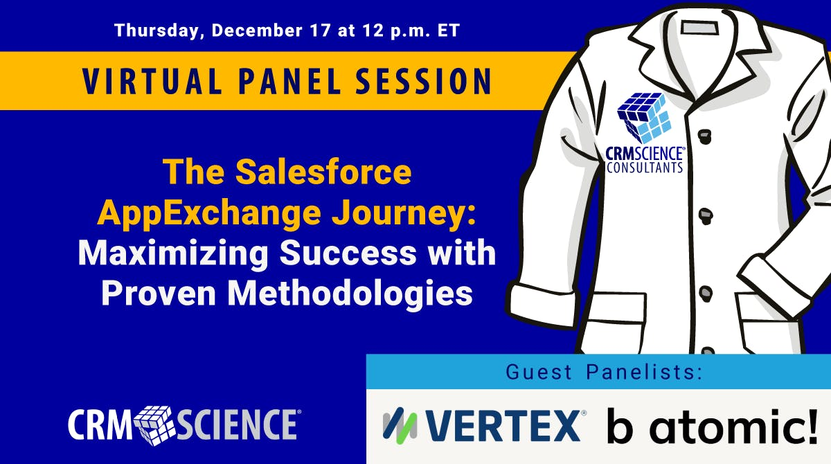 Join @vertexinc's webinar for a panel discussion with @CRMScience and @batomic30 to learn best practices for accelerating product development in @Salesforce #AppExchange. Register: