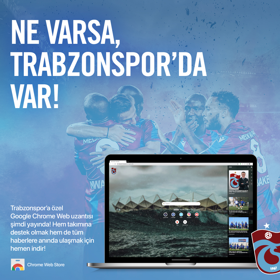 Taraftarlarımıza özel Google Chrome eklentisi yayında!   Google Chrome eklentisiyle Trabzonsporumuzla ilgili en güncel haberlere, duvar kağıtlarına ve kısa kısayollara bu eklenti üzerinden rahatlıkla ulaşabileceksiniz.   Eklemek için👉