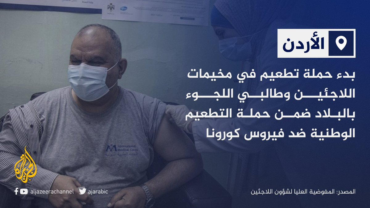 #الأردن ضمن أوائل دول العالم في تلقيح اللاجئين ضد #كورونا مجانا
