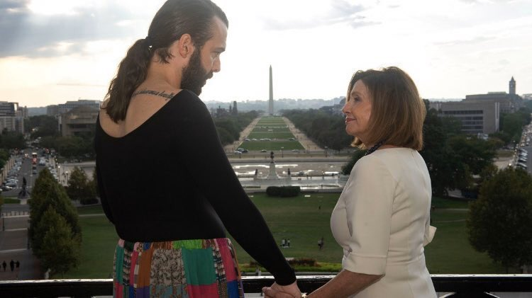 """JVN: """"Wearing a shirt backwards is an act of bravery. Its a resistance slay, mama! It's a way of saying—hello world, this is who *I* am!""""  Pelosi: """"Yes. :). Great. Thank you for coming to Congress today Weird Al. Your mission is so important"""""""