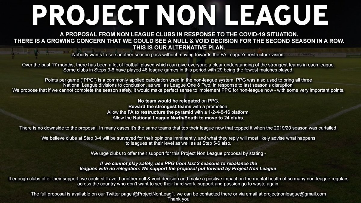 A growing number of clubs have joined a campaign against making the season null & void.  Clubs are proposing that some teams are promoted using PPG from the last 2 seasons' results in order to fill gaps in the restructured pyramid.  Their proposal would see no clubs relegated.