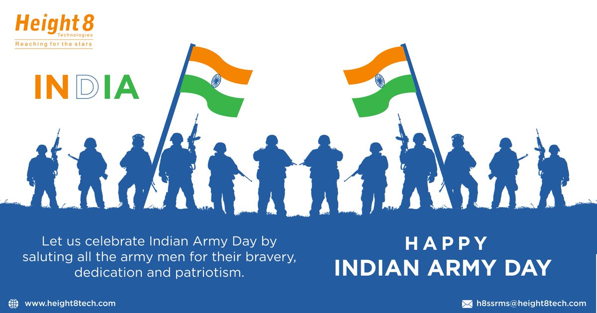 Height8 Technologies salutes all the army men for their bravery and selfless service.  Happy Indian Army Day!  #IndianArmyDay #SaluteAndRespect #IndianArmy #festival #festivalvibes #festivalwishes #festiveseason #height8 #height8technologies #telecommunications