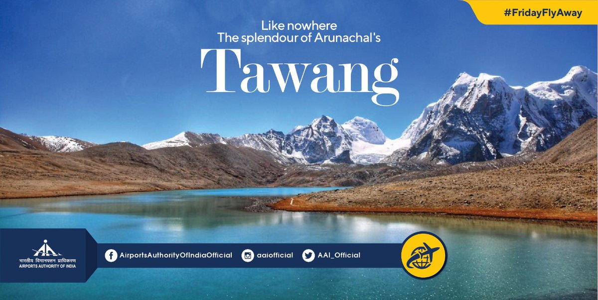 Fixed your #FridayFlyAway destination? Tawang is your place. This Alpine town is the treasure of Arunachal Pradesh. What not one can do here, from hiking in Gorichean Peak to Bong Bong Falls, famous 400-year-old monastery to Sela Pass, explore Tawang, fly by Tezpur @aaitezairport