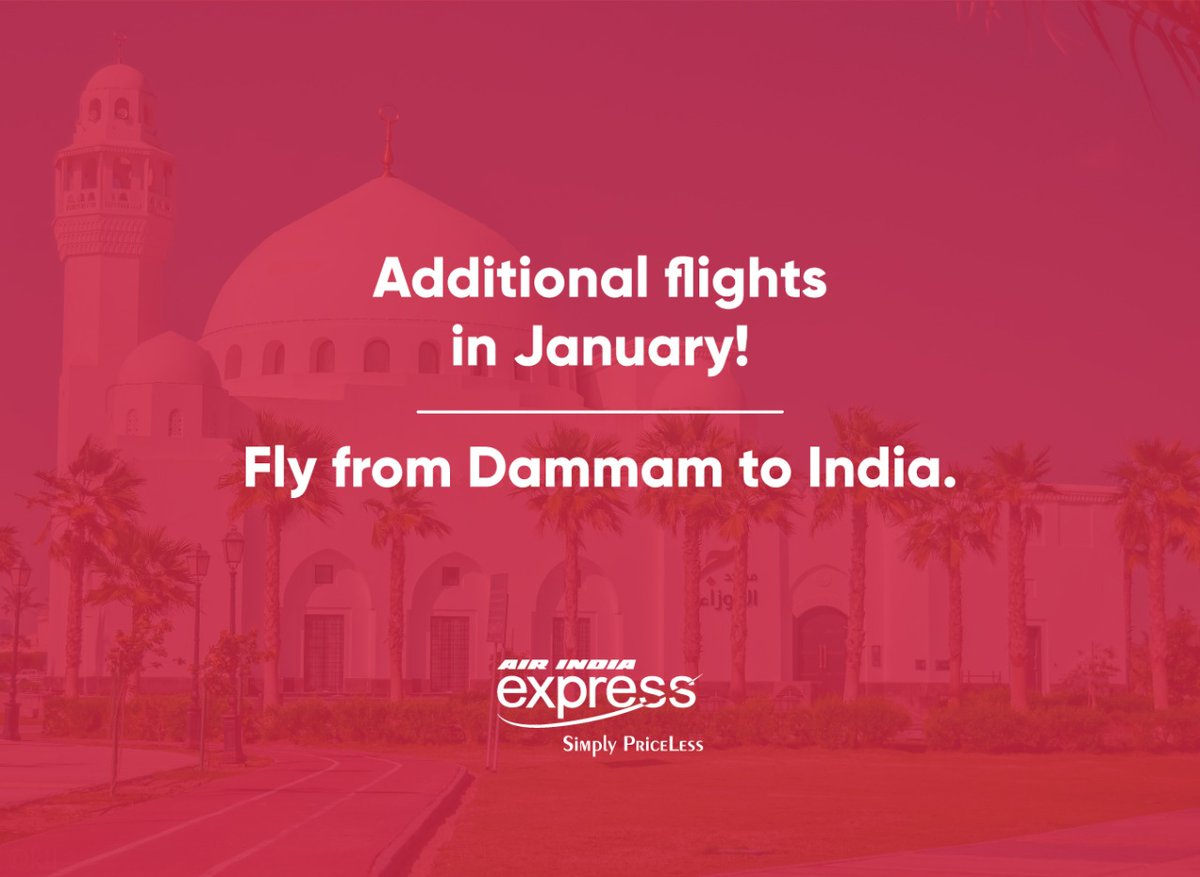 Replying to @FlyWithIX: More flights ✈️✈️✈️  Dammam➡️ India  Book Now!!! @IndianEmbRiyadh