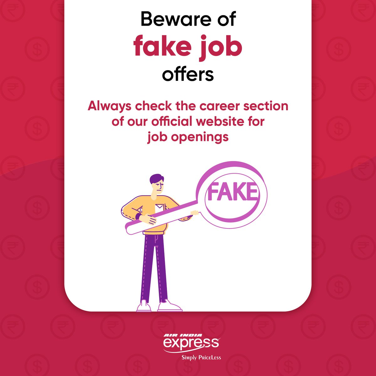 #FlyWithIX : Caution ⚠️  Beware of fake job offers. They can be scams. Our job openings are posted on the official website