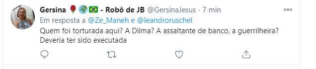 Peço que ajudem a denunciar essa pessoa, @GersinaJesus que abertamente pede a execução sumária de alguém em pleno Twitter.  #ForaBolsonaroGenocida #ForaBolsonaro #TorturaNuncaMais