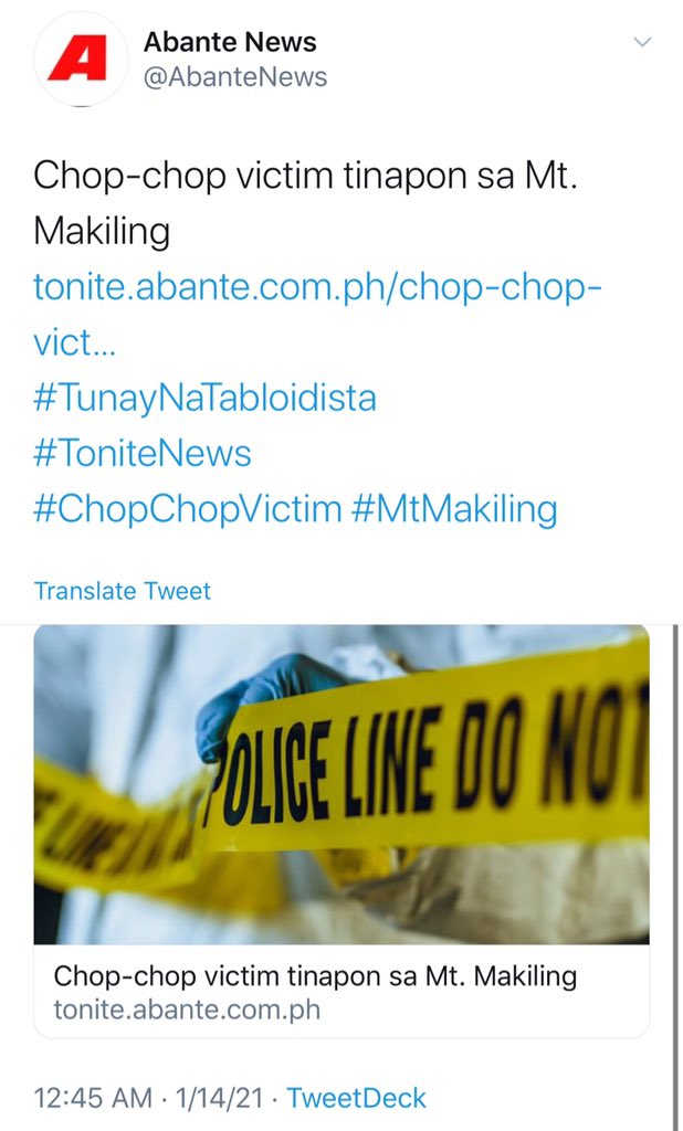 Jan 12: Five garbage bags with male body parts incl a severed head had been found on Mt. Makiling  Jan 12-13: 4 who went missing in Dec. found in Tagaytay & Batangas ravine  Jan 15; 3 bodies believed to be summary execution victims found in Bulacan roadside  #StopTheKillingsPH