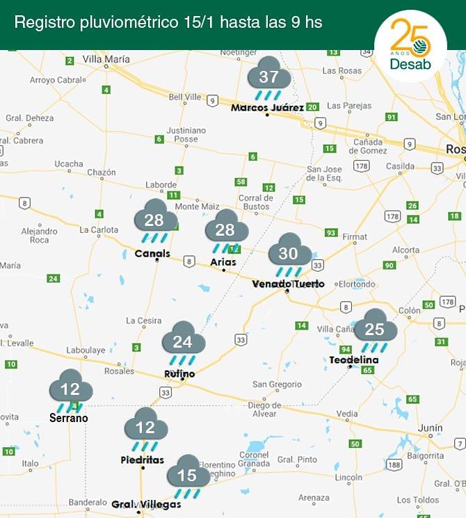 🌧️ ¿Cuánto llovió en tu zona? 🌧️ 📅 Compartimos los datos de lluvia del día de hoy hasta las 9hs aprox. en nuestros puntos de venta.  #somosdesab #rufino #canals #generalvillegas #piedritas #marcosjuarez #serrano #venadotuerto #arias #teodelina #lluvia #registrodelluvia
