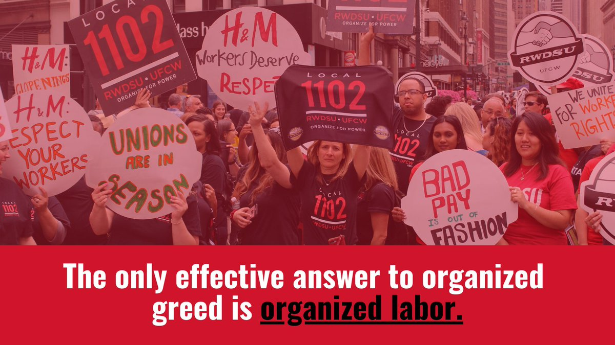 The only effective answer to organized greed is organized labor. #UnionStrong #1u