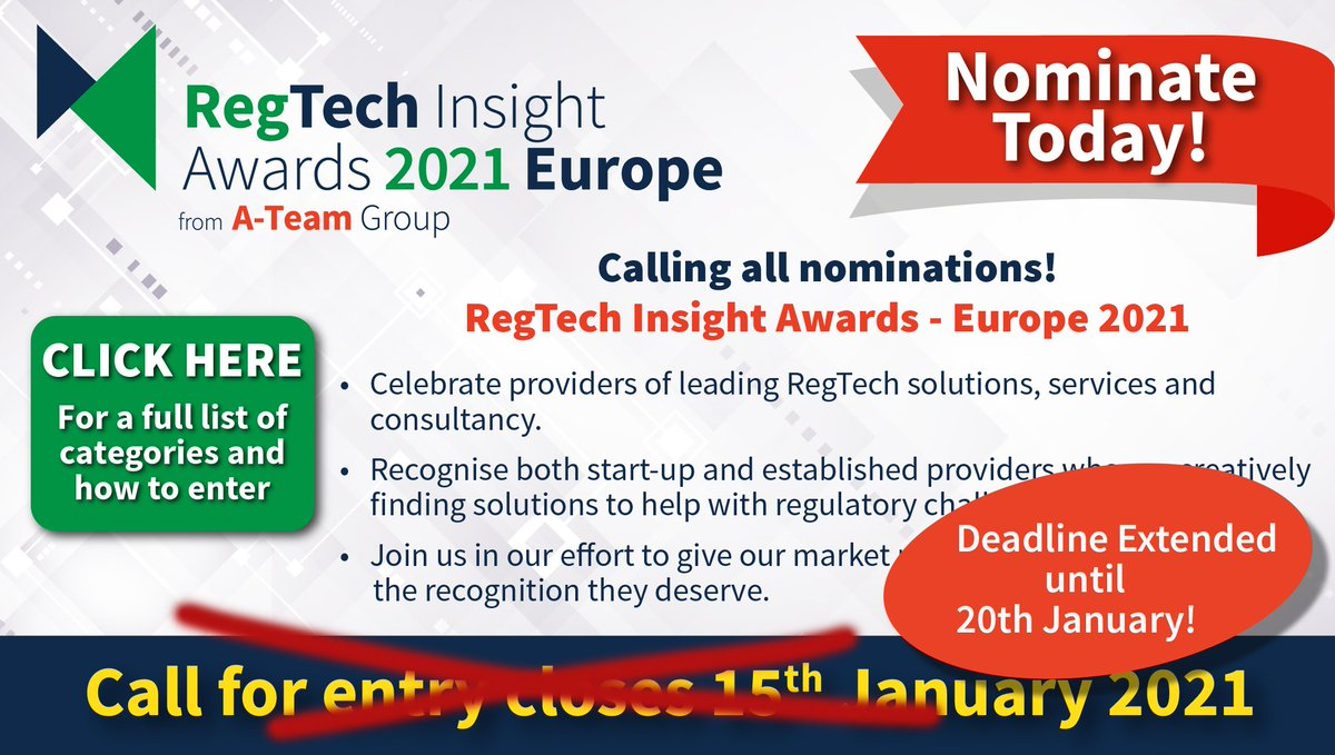 Due to popular demand, we are extending the call for entry deadline in the RegTech Insight Awards 2021 Europe until 20th January!      #RTIawards #MAD #MAR #SFTR #dataprivacy #buyside #LIBOR #IFR #IFD #MiFIDII #ESG #KYC #clientonboarding