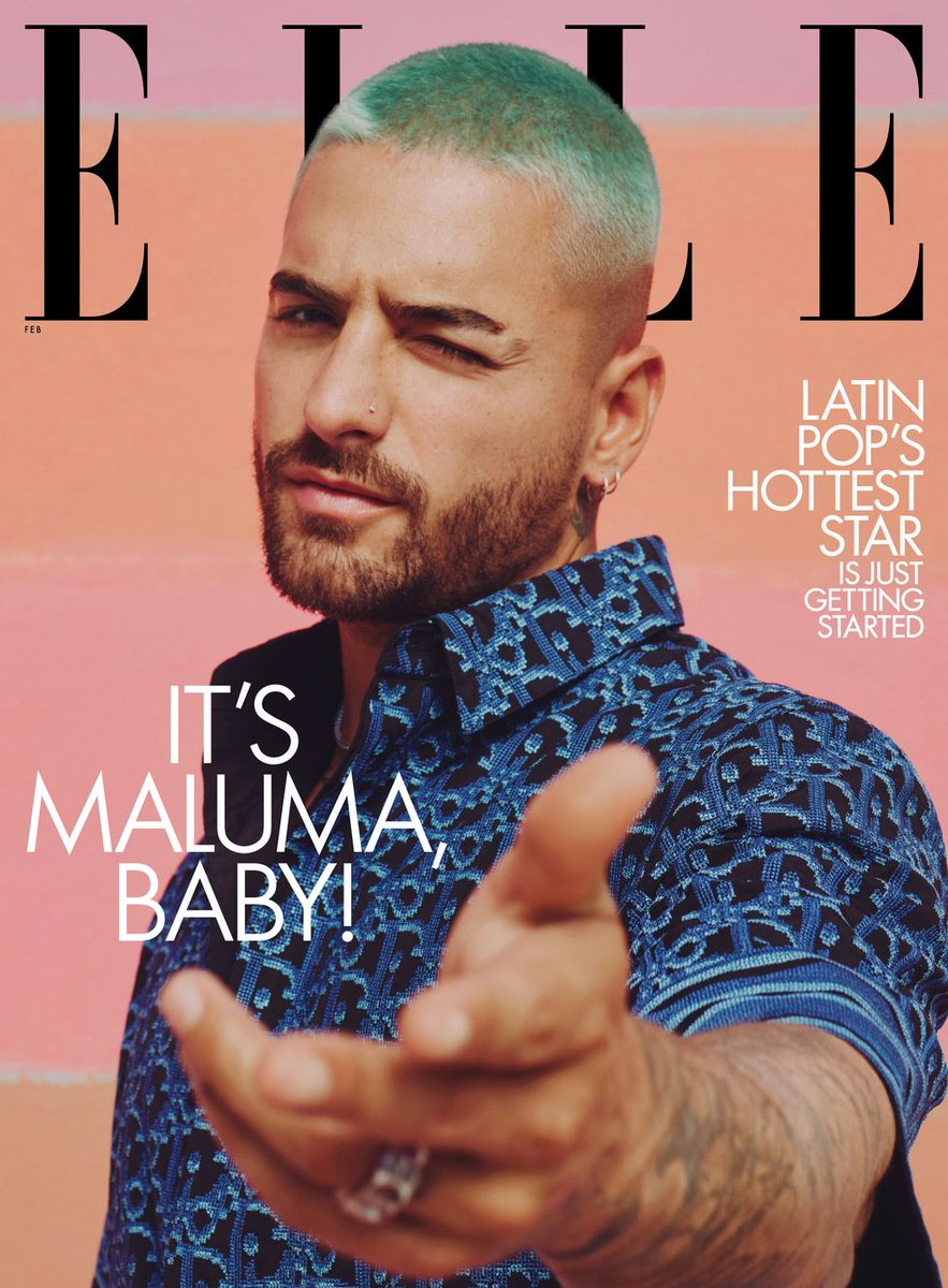 """They say that there is always a """"first time"""" and I couldn't be prouder of this @ELLEmagazine first for so many reasons. First and foremost, as a fellow Colombian, I feel extremely honored to feature @MALUMA as our first ever solo male cover-boy."""