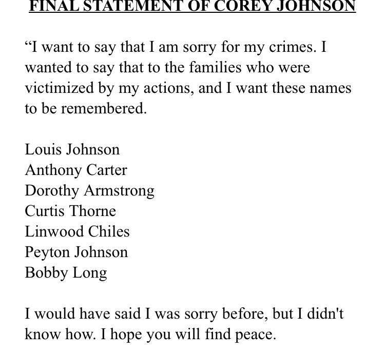"""Last night, the Trump administration executed Corey Johnson, the 6th Black person the administration has killed since September. His last words are below. """"I would have said sorry before but I didn't know how."""" This will stay with me for a long time."""