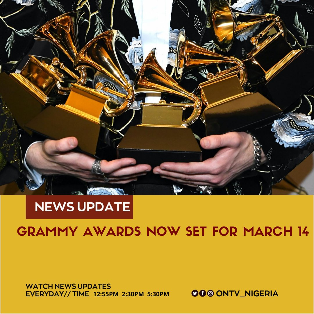 The organizer of the Grammy awards ceremony, has announced March 14 as the rescheduled date for the 63rd Annual Grammy awards, due to concerns over the spread of COVID-19.  #ontv #GRAMMYs #coronavirus #COVID19 https://t.co/HUh5d6giPK