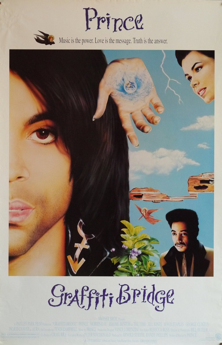 Graffiti Bridge-A Rare Original Vintage Movie Poster for Prince's 1990s Ethereal Musical Sequel to Purple Rain with Morris Day and Jimmy Jam  #graffitibridge #prince #purplerain #morrisday #jimmyjam #vanity #georgeclinton #originalmovieposter